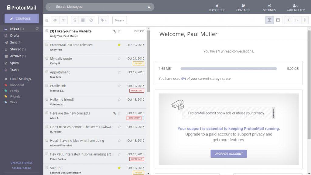 Vue de la boite de réception ProtonMail